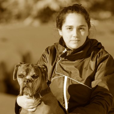 young woman with boxer breed
