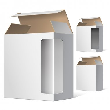 Light Realistic Open Package Cardboard Box with a transparent plastic window. Vector illustration