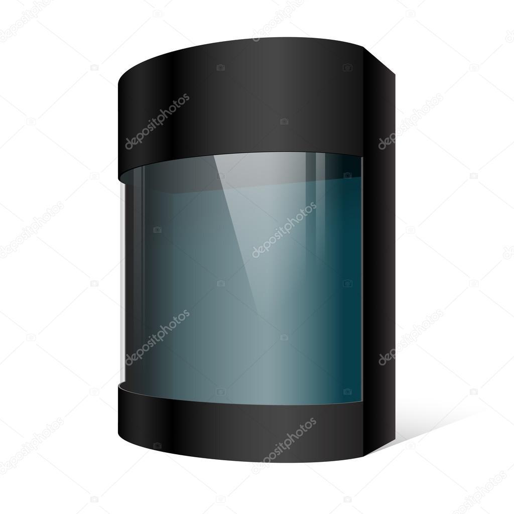 Realistiska svart paketet kartong med ett transparent plast ...