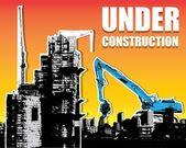 Budova a traktoru podle návrhu stavební průmysl