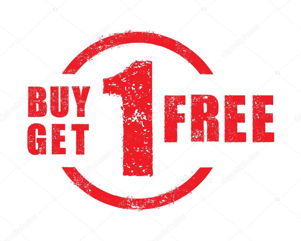 Buy 1 Get 1 Free Rubber Stamp Vector Stock Vector