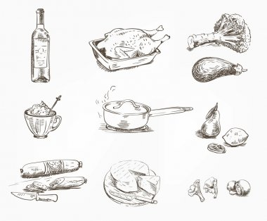 foodstuffs. set of sketches