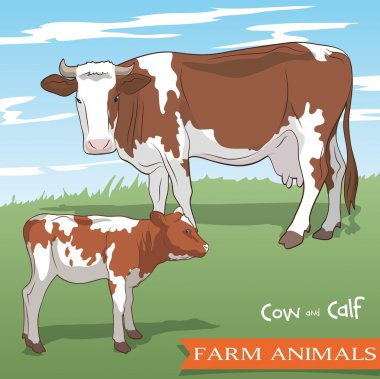 cow and her calf grazing in the meadow
