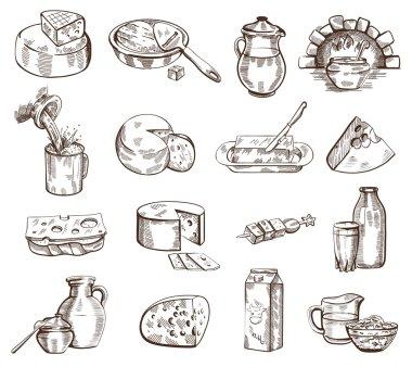Milk products vector set
