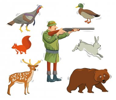 Hunter and wild animals. colored icons on a white background clip art vector