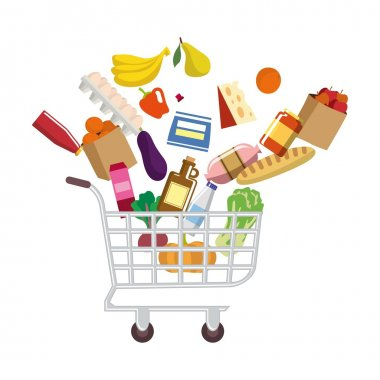 shopping cart with purchases