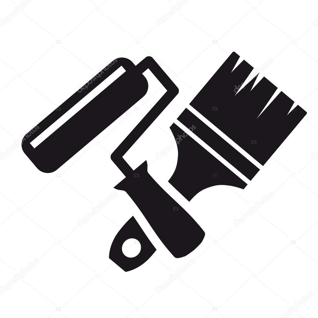 pincel e rolo — Vetor de Stock © lapuma #97036900