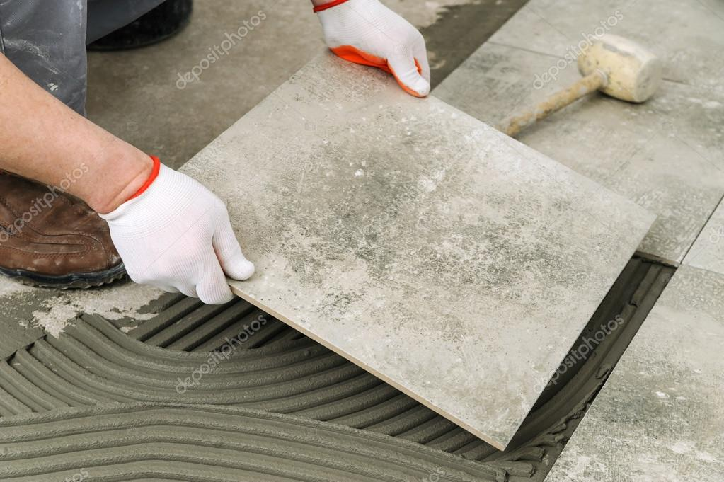 Laying Ceramic Tiles Stock Photo Yunava1 104901172