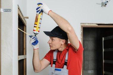 Installing door unit.