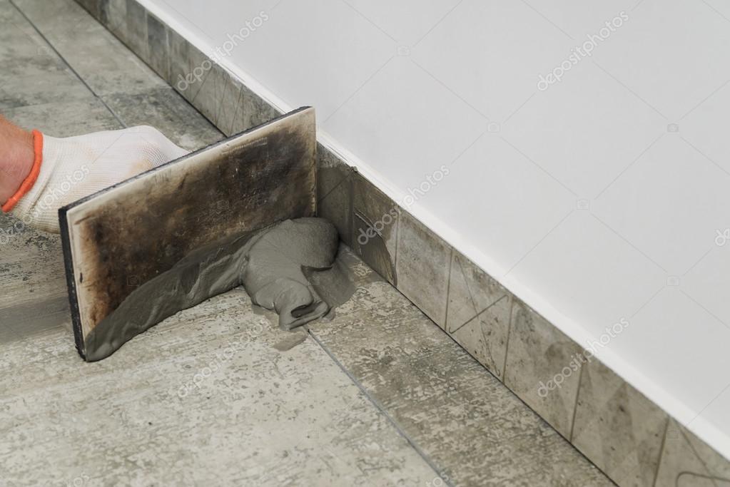 Grouting Ceramic Tiles Stock Photo Yunava1 120192382