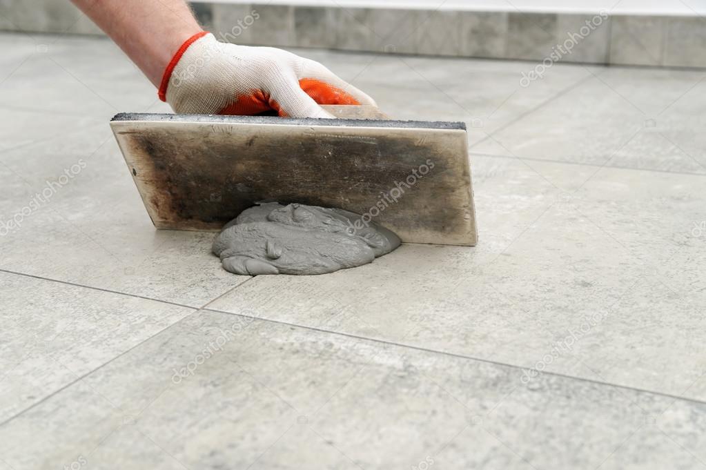 Grouting Ceramic Tiles Stock Photo Yunava1 120192388