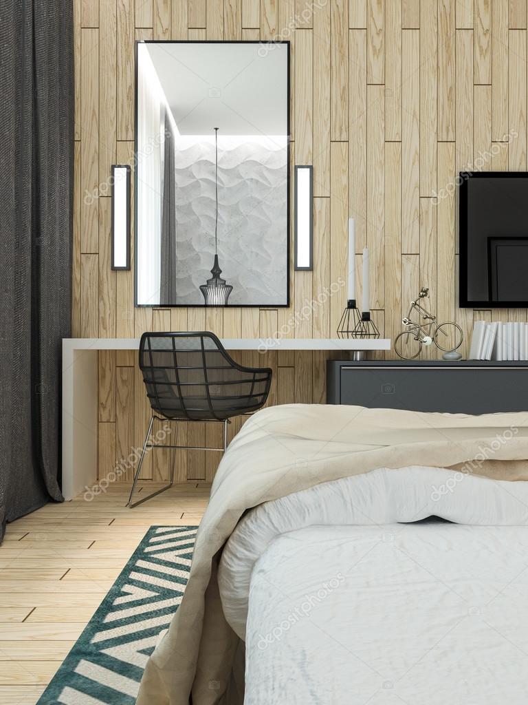 Moderne Schlafzimmer Dachboden Interieur — Stockfoto © Podsolnukh ...