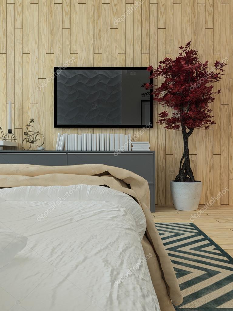 Interno del sottotetto camera da letto moderna — Foto Stock ...
