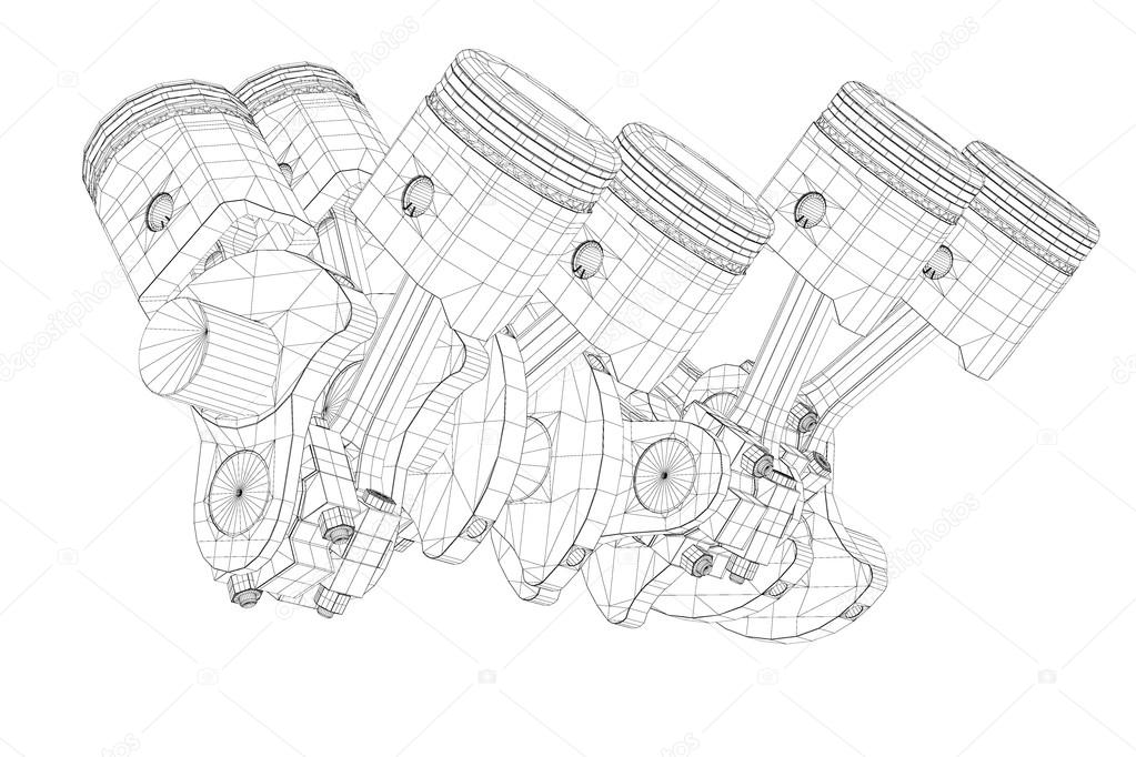 pistons, v8 engine — stock photo