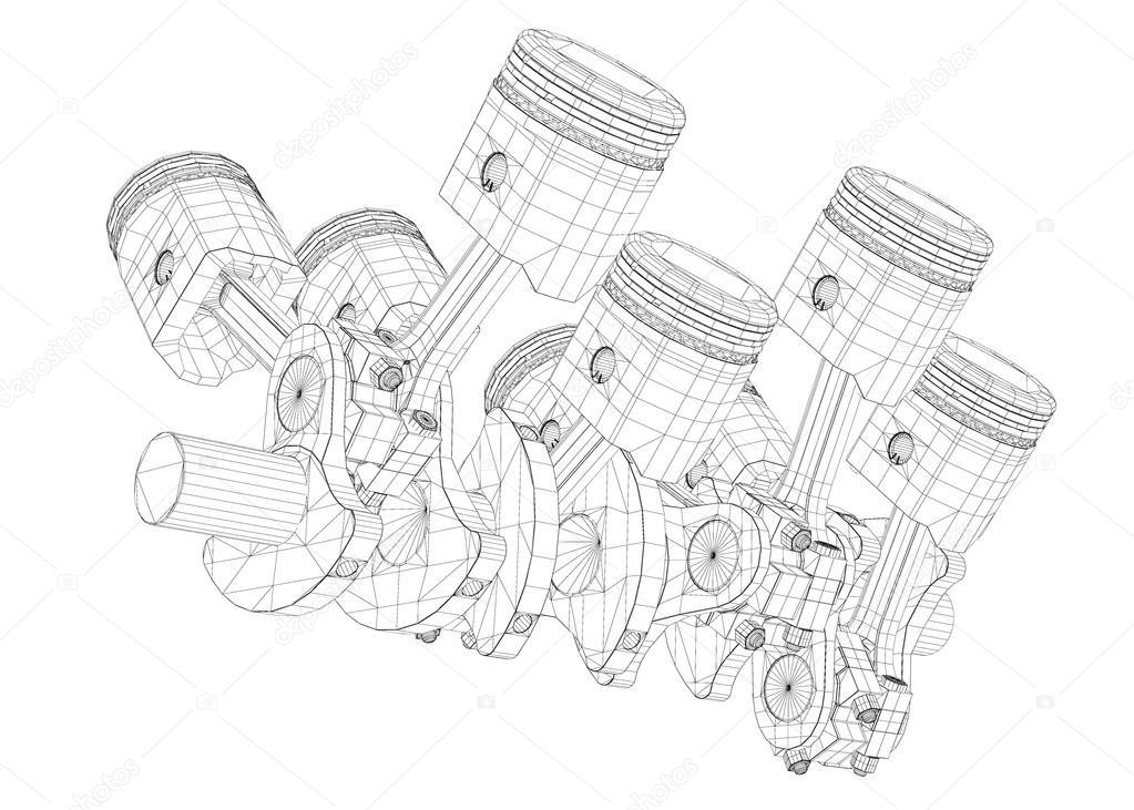 Pistons V8 Engine