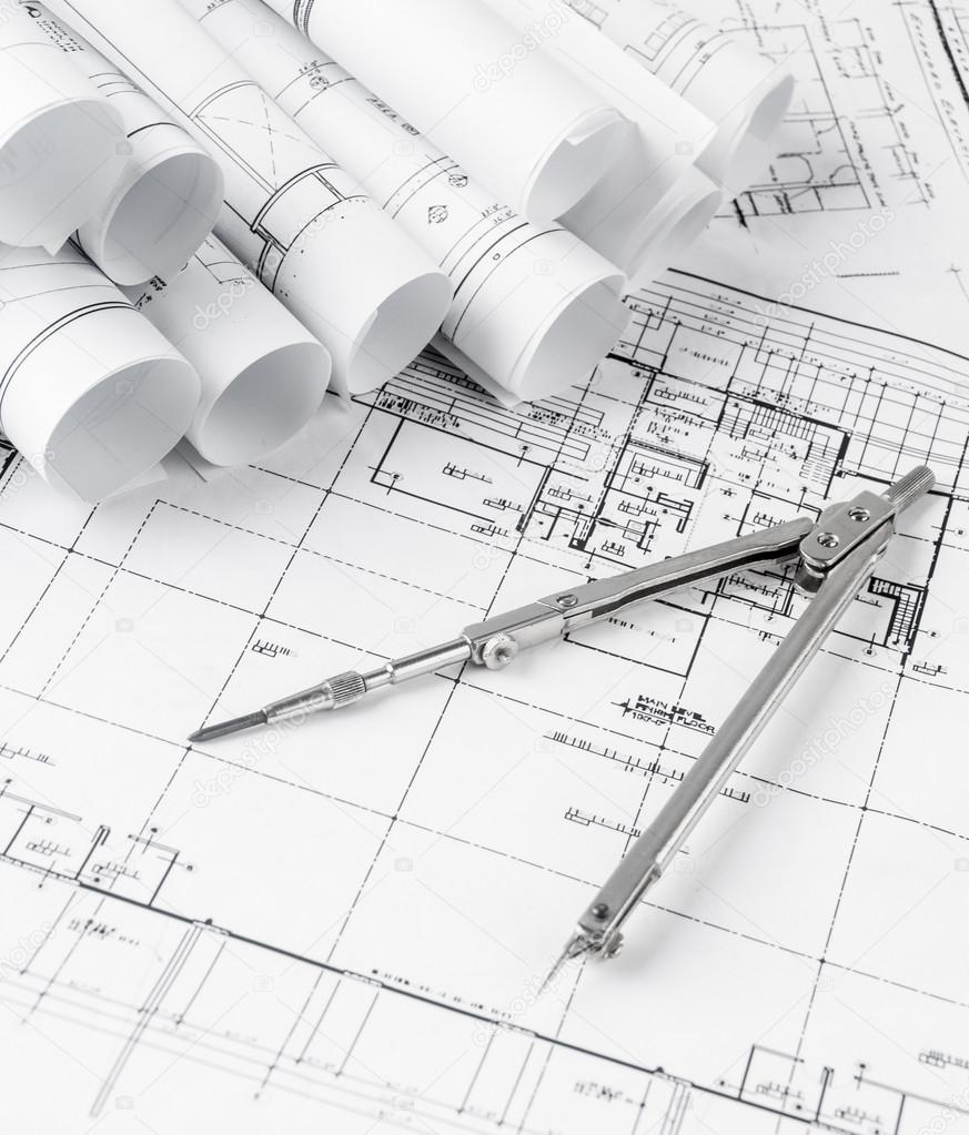 Rolls of architecture blueprints and house plans stock photo rolls of architecture blueprints and house plans stock photo malvernweather Images