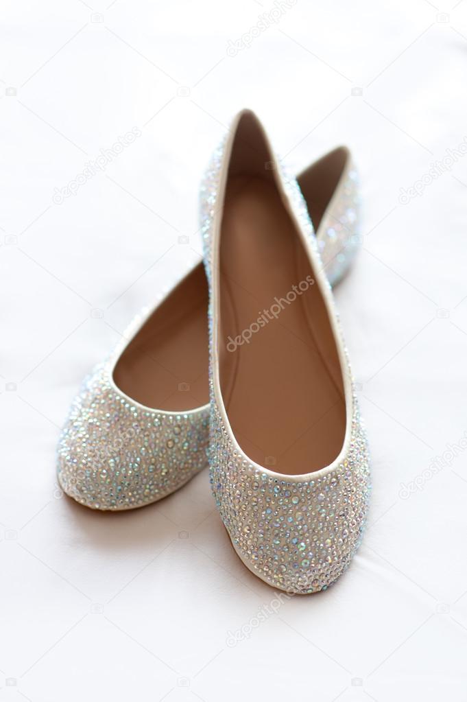 Buty ślubne Płaskie Z Diamante Zdjęcie Stockowe Eelnosiva 70813019