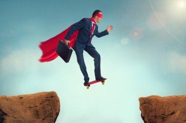 funny superhero businessman on a skateboard