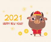 Šťastný čínský nový rok přání 2021 s volkem