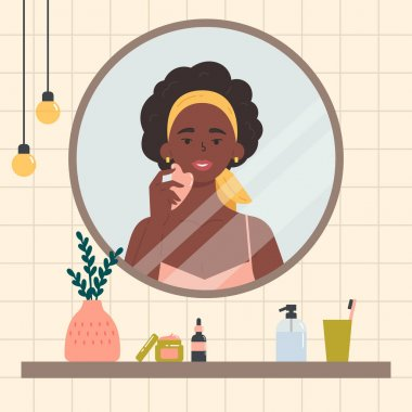 Beauty routine. Face and body skin care concept. Woman looking at herself in the mirror. Attractive girl with various cosmetics and accessories in a bathroom. Hand drawn trendy colored illustration. icon