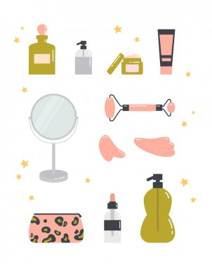 Beauty routine. Face and body skin care concept. Cleansing, moisturizing, treating, gua sha stone. Various cosmetics. Bathroom accessories. Hand drawn vector set. Trendy colored illustration. icon