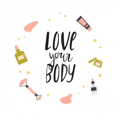 Beauty routine. Face and body skin care concept. Cleansing,, treating, gua sha stone. Various cosmetics. Bathroom accessories. Hand drawn vector set. Illustration with lettering. Love your body. icon