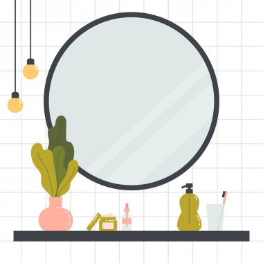 Mirror and shelf with various cosmetics and bathroom accessories. Face and body skin care concept. Trendy, minimalist bathroom interior. Hand drawn trendy colored illustration. icon