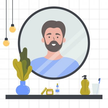 Beauty routine. Face and body skin care concept. Man looking at herself in the mirror. Attractive guy with various cosmetics and accessories in a bathroom. Hand drawn trendy colored illustration. icon