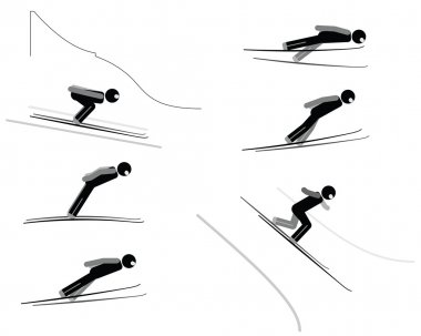 Ski jumping - pictogram set