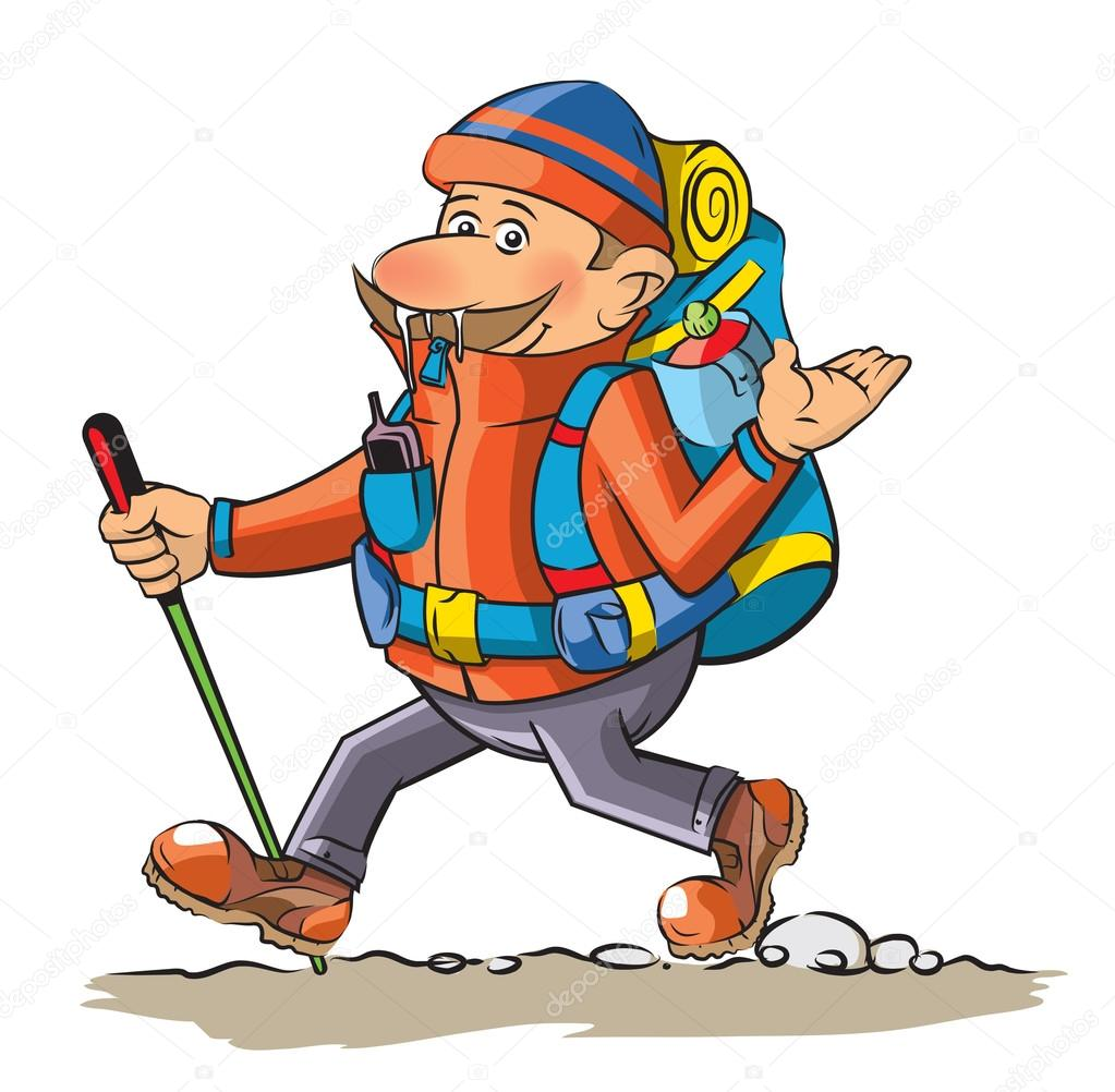 funny cartoon hiker stock vector lukaves 98798248 rh depositphotos com cartoon hacker cartoon hiker images