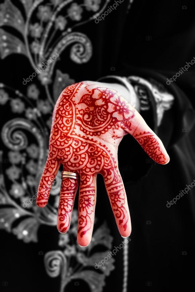 Henna Tattoo Schwarz Allergie: Henna Hand Tätowierung Körper Kunst Tradition Schwarz-weiß