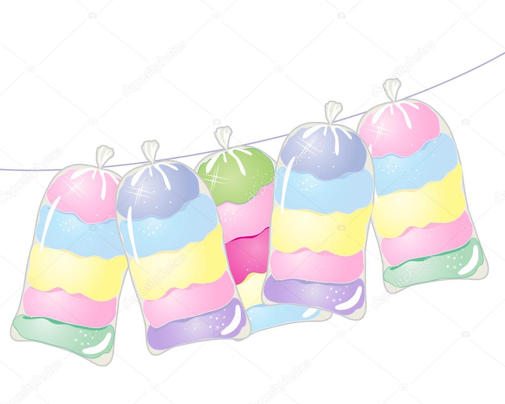 dulce algodón de azúcar — Vector de stock © sandesh1264 #68472239
