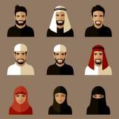 Vector arab people icon,  saudi characters