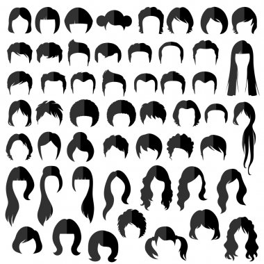 Woman nad man hair, vector hairstyle silhouette stock vector