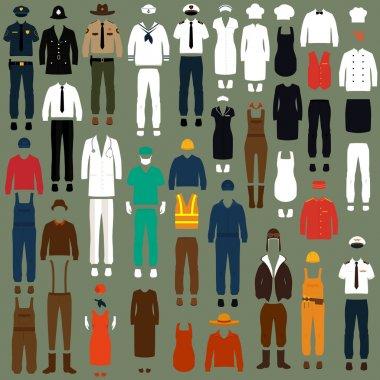 Vector icon workers, profession people uniform, cartoon vector illustration stock vector