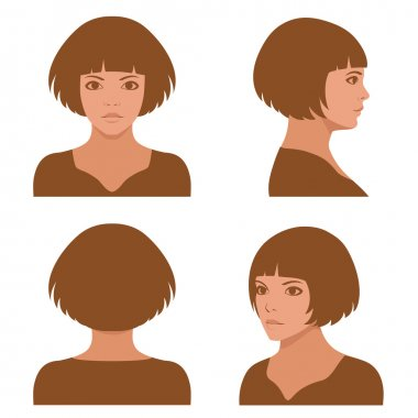 full face and profile head character