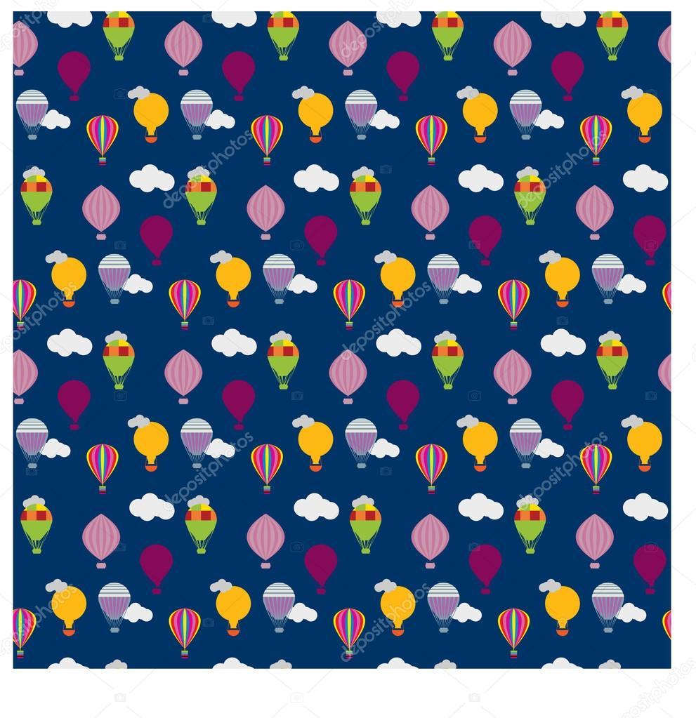 Vector hot air balloons seamless pattern