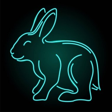 Beautiful colorful linear illustration with blue illuminated neon rabbit silhouette on the dark background icon