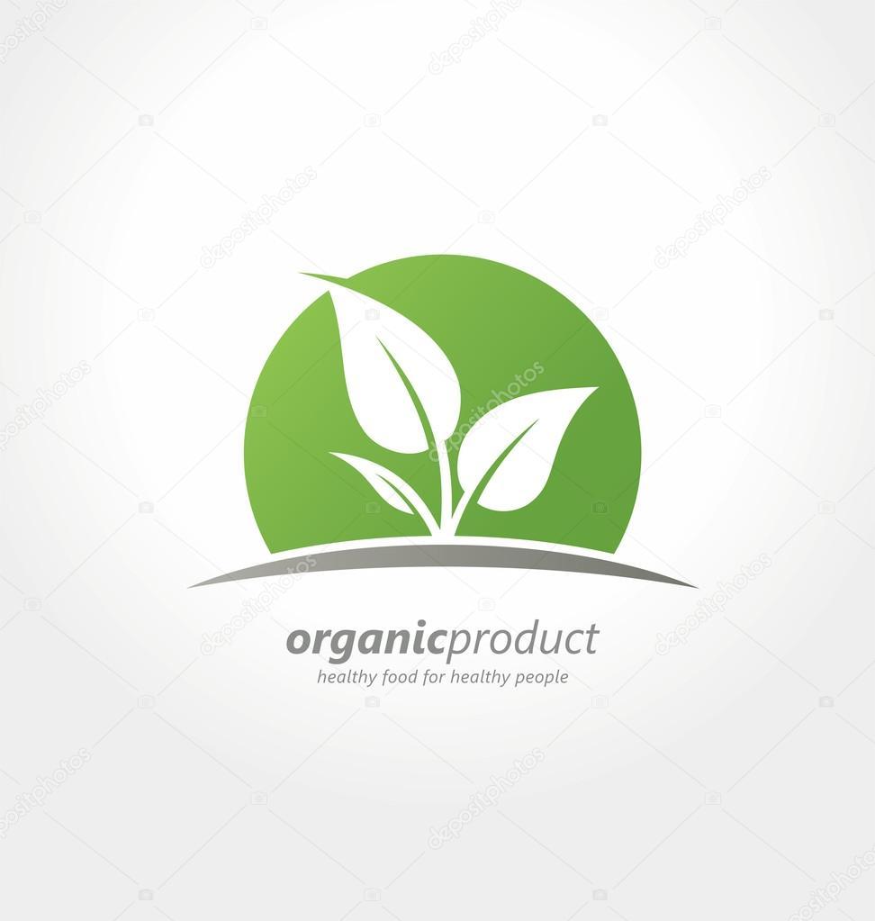 有机产品 logo 设计理念。健康人创意概念的健康食品。有机农场新鲜产品独特标志或图标 — 图库矢量图片#