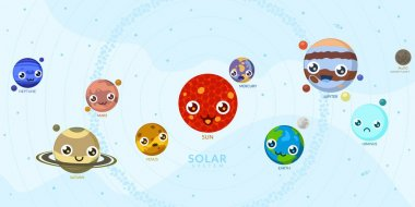 Funny Kawaii Planets With Different Faces. Solar System With Cute Cartoon Planets. Universe For Kids, Sun, Mars, Mercury, Earth, Venus, Jupiter, Saturn, Uranus, Neptune, Pluto.