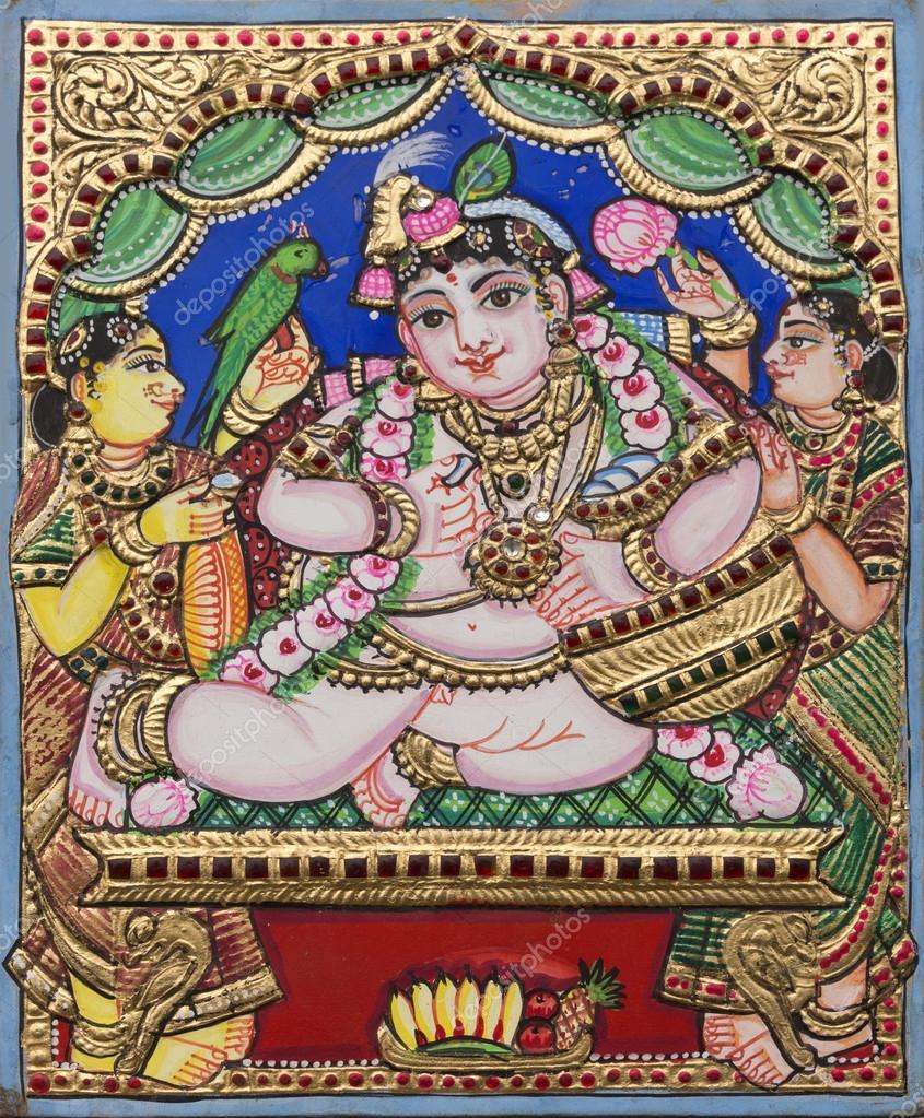 Ejemplo de estilo de pintura de Thanjavur — Foto editorial de stock ...