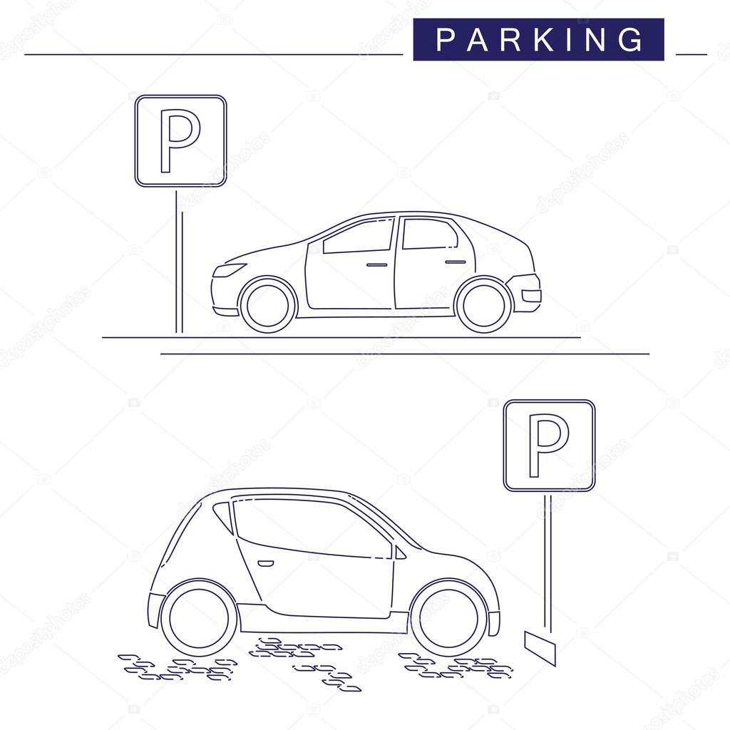 Strichzeichnungen. Parkplatz-Design auf weißem Hintergrund ...