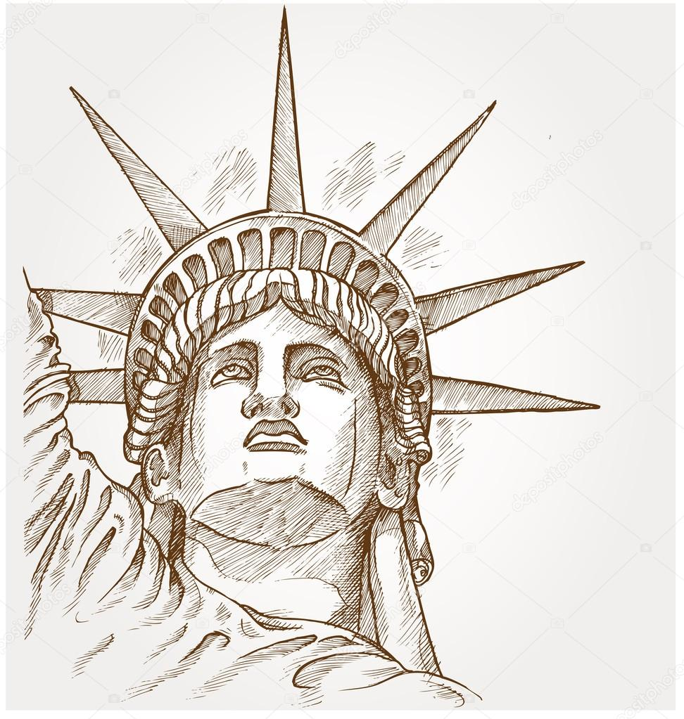 Statue of liberty face hand dawn — Stock Vector © Doom.ko ... Statue Of Liberty Drawing Face