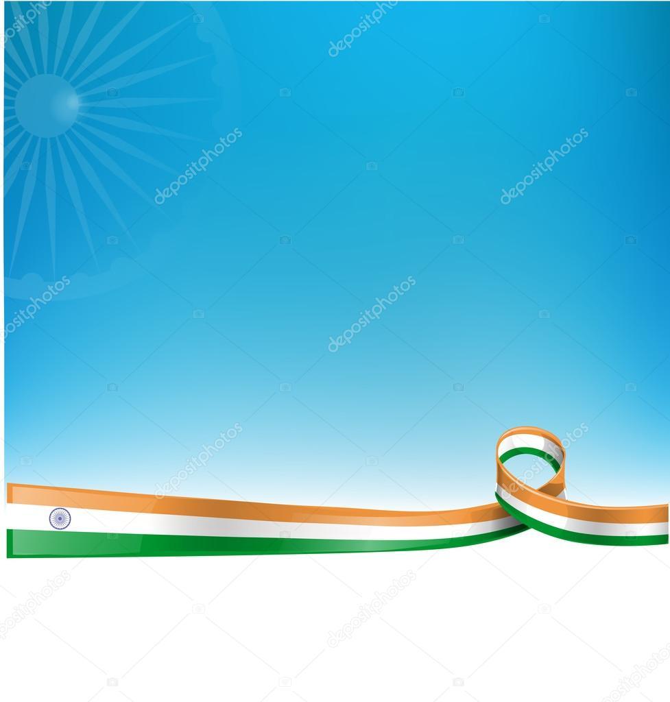 Indian ribbon flag on sky  background