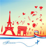 Fotografie france holiday background with symbol and flag