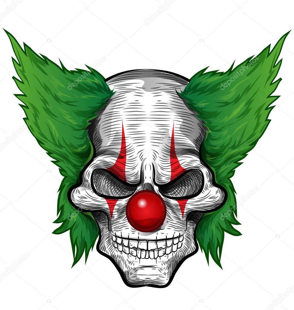 clown skull isolated on white backgroun