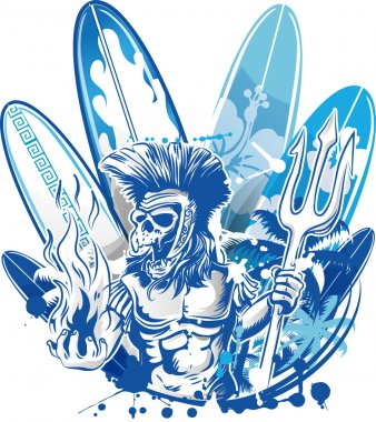 poseidon death surfer on surfboard background