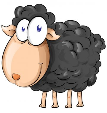 Black sheep cartoon isolate on white background