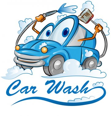 car wash cartoon isolated on white