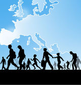 Fotografie imigrace lidí na pozadí mapy Evropy